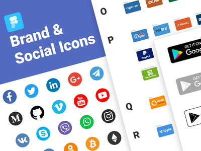 Brand & Social Icons for Figma Free social networks circle badge badges payment systems payment brand icons icon