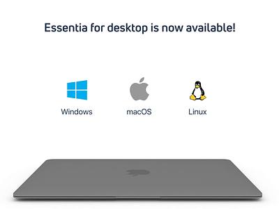 Desktop release App Essentia launchpad desktop release application app cryptocurrency crypto essentia ess animation