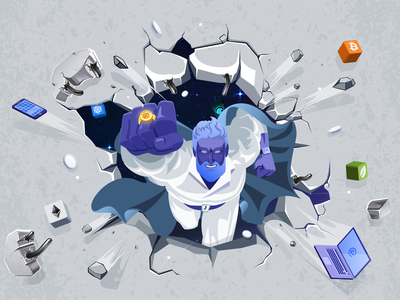 Illustration with Jarvis for Essentia superhero jarvis print laptop t-shirt cryptocurrency crypto essentia ess illustration