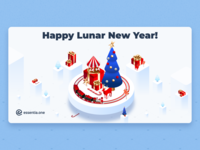 Happy New Year & Merry Christmas Illustrations for Essentia article cryptocurrency crypto clean isometric merry christmas happy new year essentia ess illustration
