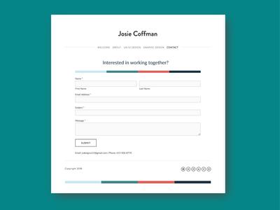 Portfolio Website - Contact Screen