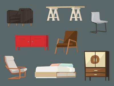 Ikea Furniture furniture ikea chair vector doodle poang