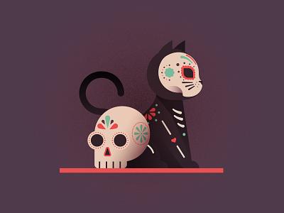 Día de los Muertos dia de los muertos calavera skull cat illustrator vector