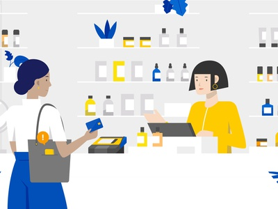 Visa Purchase Alerts checkout motion design vector department store beauty store counter retail shopping