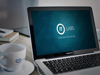 IT Labs Logotype logo logotype circle cup macbook desk blue polygon it education