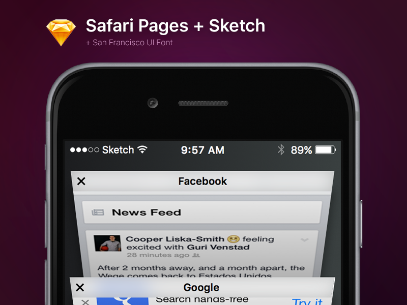 Safari Pages for Sketch + SF Font sketch free iphone 6s iphone 6 apple safari ios 9 ios free sketch download font san francisco