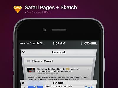 Safari Pages for Sketch + SF Font sketch free iphone 6s iphone 6 apple safari ios 9 ios free sketch download font san francisco