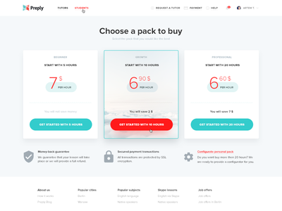 Pricing Table buy plan table pricing visual design ux ui lessons teacher preply