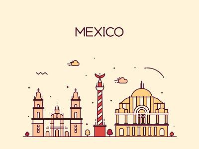 Mexico city mexico art linear line panorama horizon architecture silhouette city landscape cityscape skyline