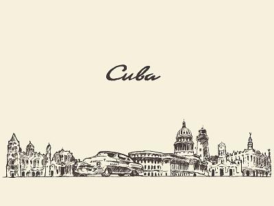 Cuba skyline silhouette panorama cuba drawing draw landscape horizon cityscape city sketch architecture
