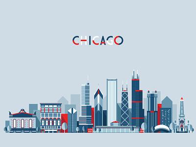 Chicago skyline silhouette panorama chicago flat style landscape horizon cityscape city building architecture