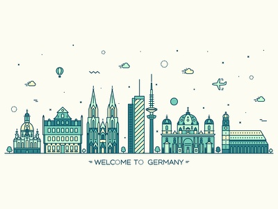 Germany europe urban skyline silhouette germany linear line landscape berlin cityscape city architecture