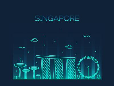 Singapore skyline skyline silhouette panorama singapore linear line landscape horizon cityscape city art architecture