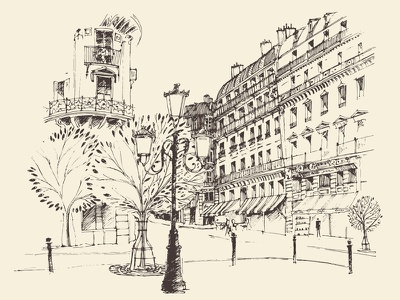 Streets in Paris skyline sketch street france europe graphic drawing draw paris cityscape city architecture