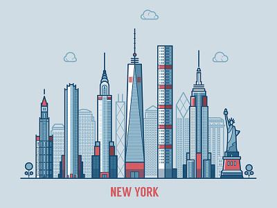 New York cityscape america urban usa united states city illustration flat skyline linear york new