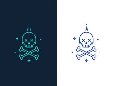 Modern Jolly Roger bone human roger jolly magic pirate trendy modern linear line skull