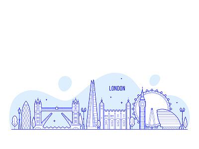 London skyline street building linear line england euope architecture blue cityscape city skyline london