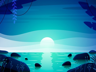 Tropic night party beach ocean moon waves gradient paradise blue night background tropic