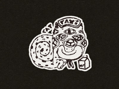 Cat Taxi white black doodle stamp animal eyes sticker cartoon drawing cat