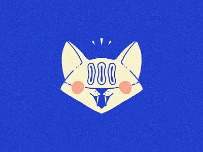 Excited fox! linear line front head wildlife blue logotype dog cat fox animal logo
