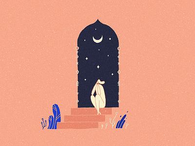 Sacred night oriental arabic leaves plant stars moon stairs door nature girl night
