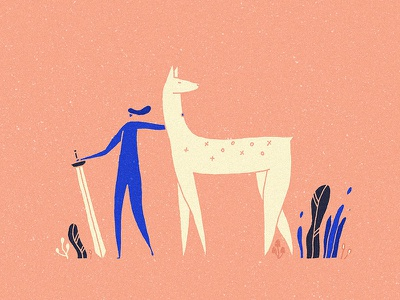 Follow me cute design cartoon adventure print animal nature warrior pink sword art illustration girl deer myctic magic