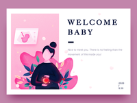 520-Welcome Baby characters woman pregnant design love baby mother illustration ui