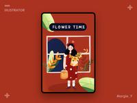 Flower Time plant color art painting girl flower design illustrations
