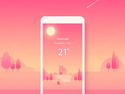 Weather&Overcast illustration weather ui pink mobile app