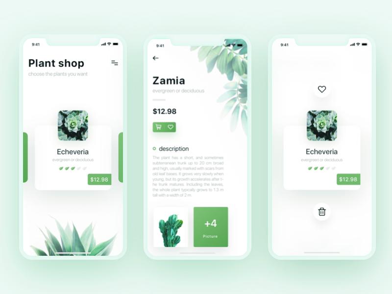 Plant Shop ui interface app green shop plant