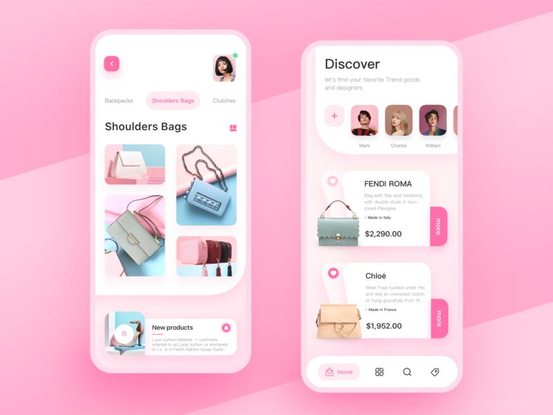 Pink Handbag app card design handbags mobile woman pink design app ui