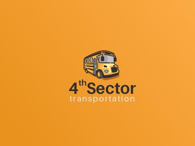4th Sector Transportation Logo Design concept icon transportation orange wheels school bus illustration vector logo branding design