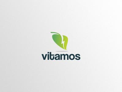 Vitamos Logo Design vitamins vector nutritional logo leaf illustration icon health care flash energy dietary design branding