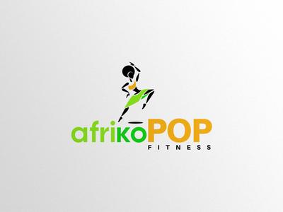 afrikoPOP Logo Design woman vector typography trainings pop logo illustration health care fitness design dance branding african