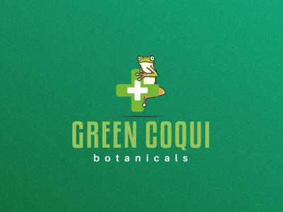 Green Coqui Botanicals Logo Design concept mascot botanical green coqui marijuana green frog cannabis pharmaceutical medical vector design health care illustration icon logo branding