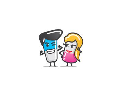 """Vitamins"" Mascots Design concept woman comic cartoon man health supplement nutrition vitamins adobe ilustrator mascot logo branding vector health care icon design mascot illustration"