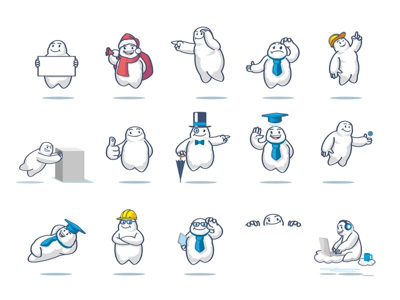 """Cloud Man"" Mascot Set service emote flying adobe illustrator character cloud illustration mascot vector design branding"
