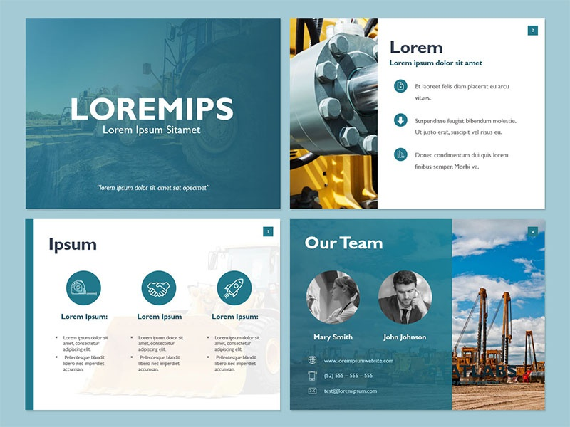 modern blue trendy powerpoint template by mire carre dribbble