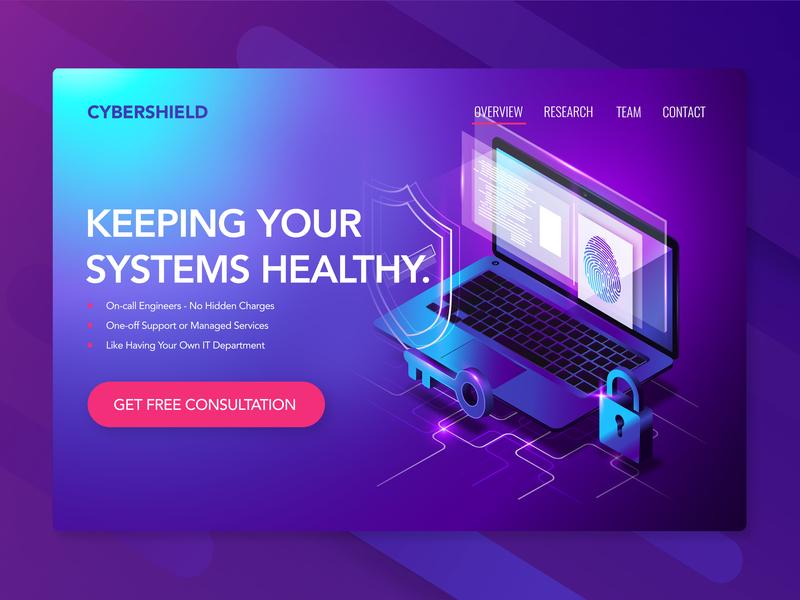 Cybershield Web Design - CyberSecurity Company modern flat security cybersecurity design concept photoshop html css html web 3.0