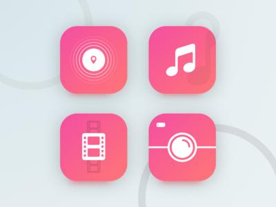 Basic Icon set camera video music design basic ui ios icons