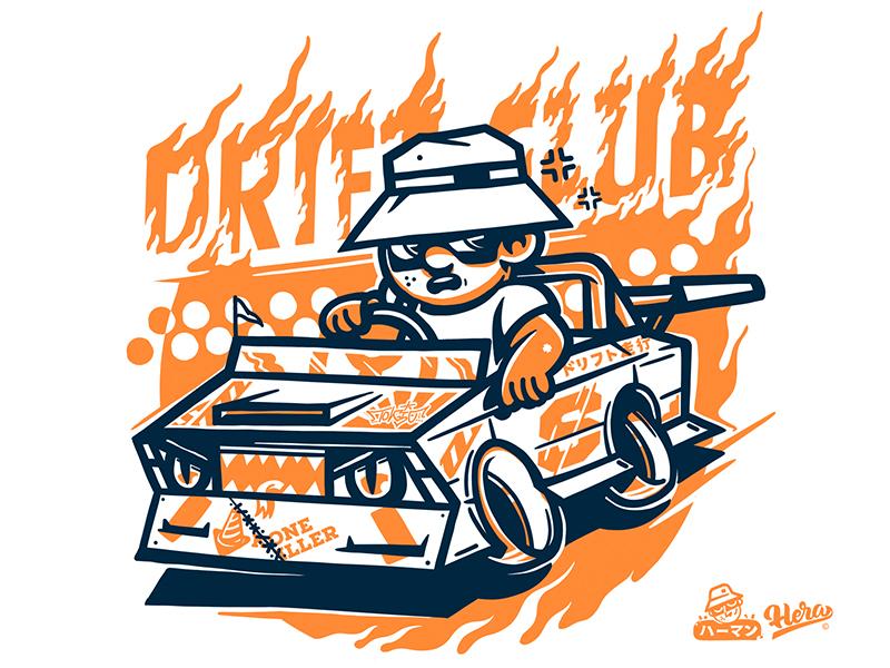 Drift Club graffiti dribbble 2018 charactersdesign design illistration hera character drift car orange vector