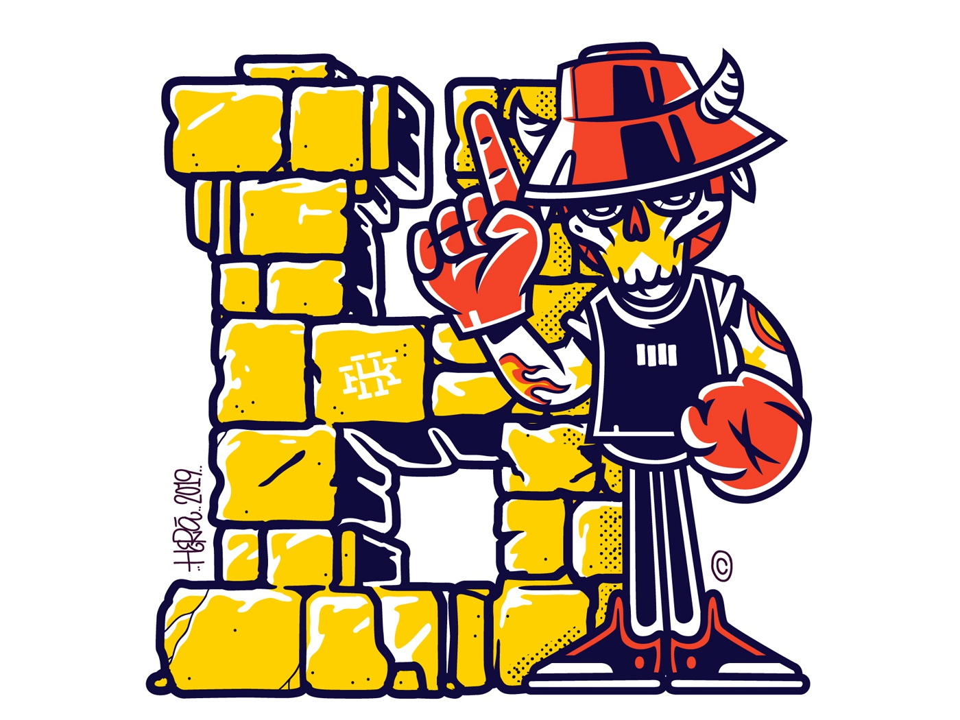 Letter H mascot drips typography lettering digital-painting dribbble charactersdesign hera vector graffiti design illustration character