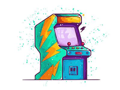 ARCADE! 2020 texture illustration flat sketch ipad pro vibrant old player childhood flash coins retro mario quarantine corona joystick games arcade
