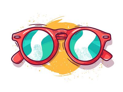 Shades! procreate sunshine 2020 fun artwork flat green yellow illustrator ipad pro red shine glasses sunglasses shades summer