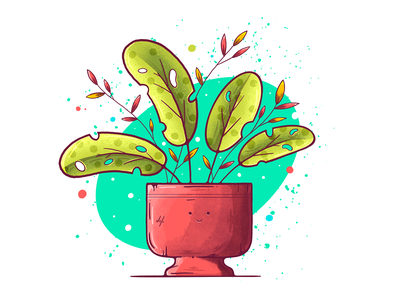 Happy Plant illustration procreate ipad pro pure clean fresh green pot simple minimal branches leaf leaves happy plant