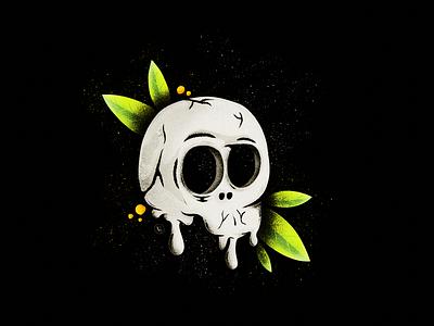Silence ipad pro procreate sketch symbolic bones head glow greem leaf leaves dark white black silence skull