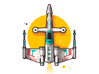 X Wing (Toy Edition) icons droid 2d stormtrooper space r2d2 starfighter spaceship sci-fi x-wing fuel sun flying yellow art desigm illustration jet star wars