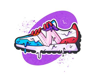 New Balance! sneakerhead illustrator kicks melting sneaker shoe texture fresh dope purple spraypaint paint gooey dripping yummy red nb 2020 pride new balance