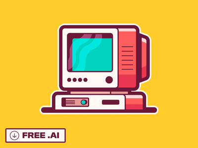 RetroPC | FREE Download giveaway youtube illustration gadgets disc floppy buttons desktop monitor old tech vector freebie sticker tutorial adobe illustrator free download computer retro