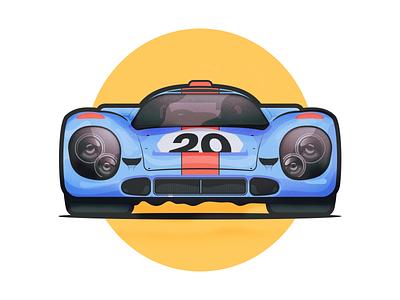 Porsche 917 K Gulf design minimal clean 20 steps ai outline motorsport auto illustration car dope vehicle blue retro supercar le mans gulf 917 porsche
